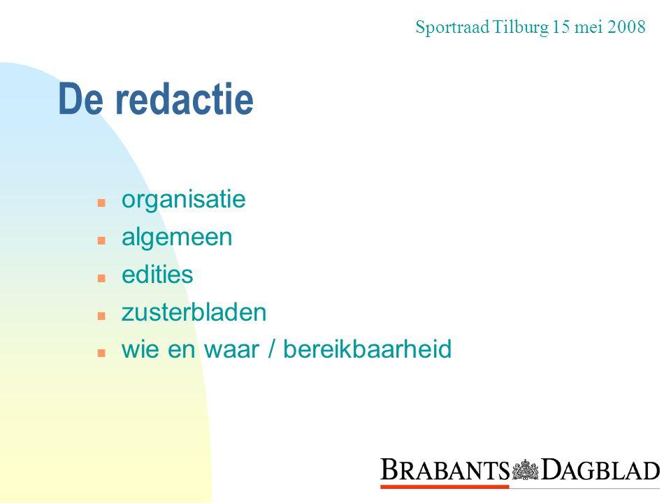 De inhoud n uniek n wat is nieuws? n opzet n de inhoud n taal Sportraad Tilburg 15 mei 2008
