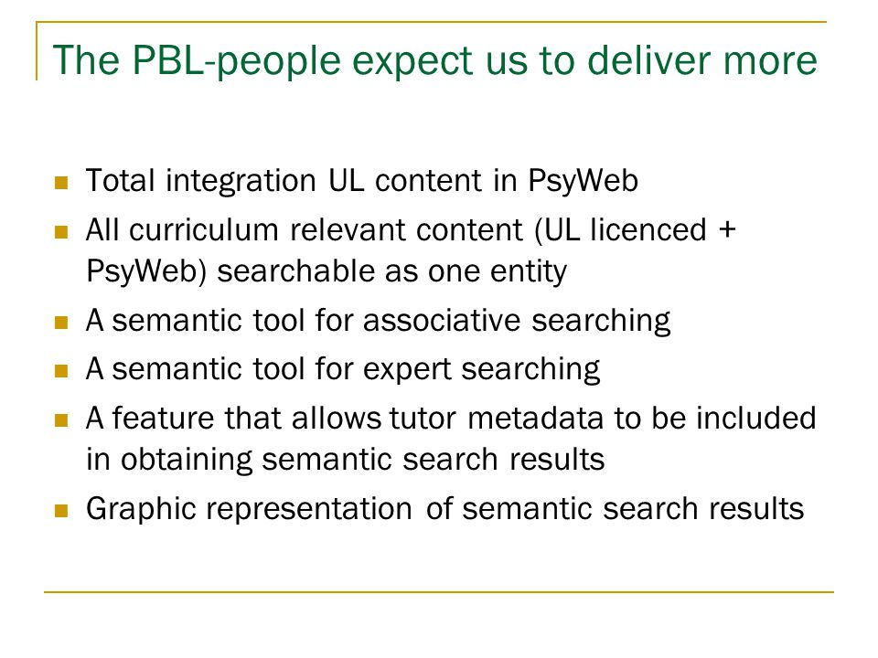 The PBL-people expect us to deliver more  Total integration UL content in PsyWeb  All curriculum relevant content (UL licenced + PsyWeb) searchable