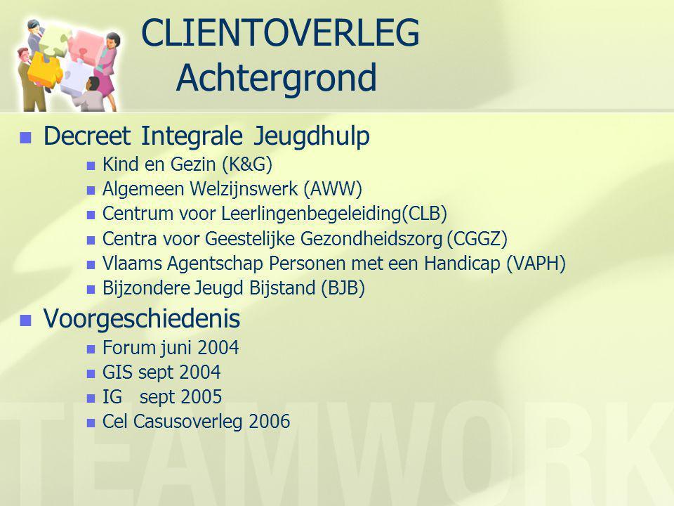 CLIENTOVERLEG Achtergrond  Decreet Integrale Jeugdhulp  Kind en Gezin (K&G)  Algemeen Welzijnswerk (AWW)  Centrum voor Leerlingenbegeleiding(CLB)