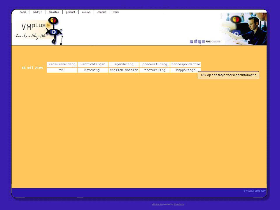 verzuimmeldingcorrespondentie matchingrapportage verrichtingenagendering fmlmedisch dossier Ik wil zien processturing facturering Klik op een tabje vo
