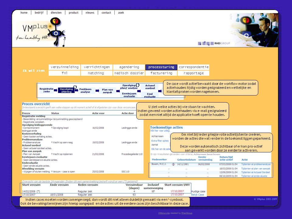 verzuimmeldingcorrespondentie matchingrapportage verrichtingenagendering fmlmedisch dossier Ik wil zien processturing facturering De case wordt actief