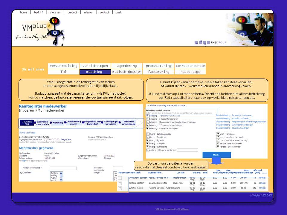 verzuimmeldingcorrespondentie matchingrapportage verrichtingenagendering fmlmedisch dossier Ik wil zien processturing facturering VMplus begeleidt in