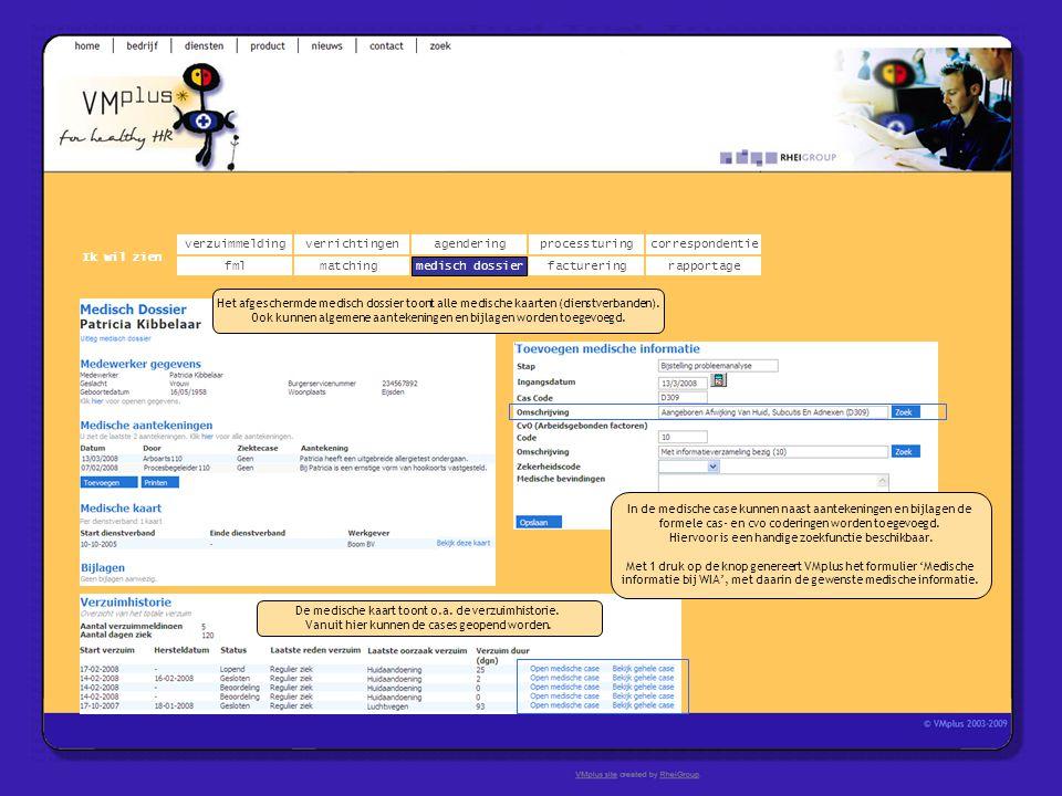 verzuimmeldingcorrespondentie matchingrapportage verrichtingenagendering fmlmedisch dossier Ik wil zien processturing facturering medisch dossier Het