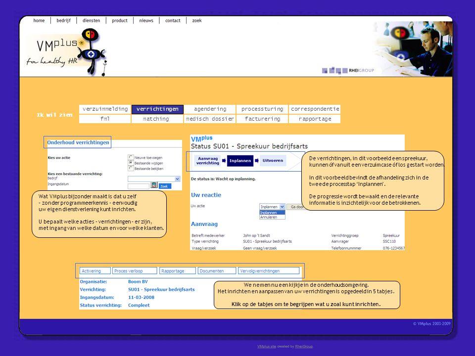 correspondentie matchingrapportage verrichtingenagendering fmlmedisch dossier Ik wil zien processturing facturering Wat VMplus bijzonder maakt is dat