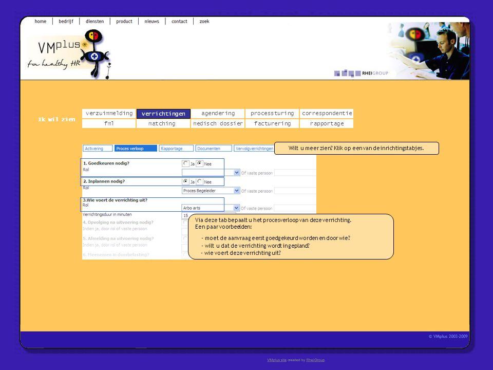 verzuimmeldingcorrespondentie matchingrapportage verrichtingenagendering fmlmedisch dossier Ik wil zien processturing facturering verrichtingen Via de