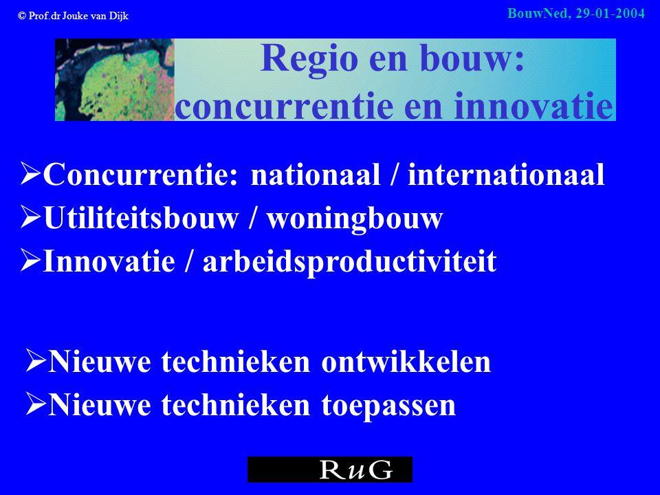 © Prof.dr Jouke van Dijk BouwNed, 29-01-2004 Regio en bouw: concurrentie en innovatie  Nieuwe technieken ontwikkelen  Nieuwe technieken toepassen  Concurrentie: nationaal / internationaal  Utiliteitsbouw / woningbouw  Innovatie / arbeidsproductiviteit