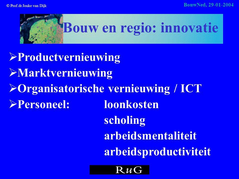 © Prof.dr Jouke van Dijk BouwNed, 29-01-2004 Bouw en regio: innovatie  Productvernieuwing  Marktvernieuwing  Organisatorische vernieuwing / ICT  Personeel: loonkosten scholing arbeidsmentaliteit arbeidsproductiviteit