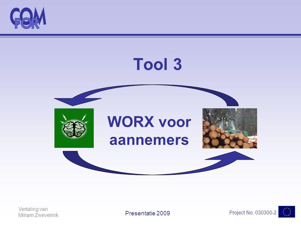 Vertaling van Miriam Zweverink Project No. 030300-2 Presentatie 2009 Tool 3 WORX voor aannemers