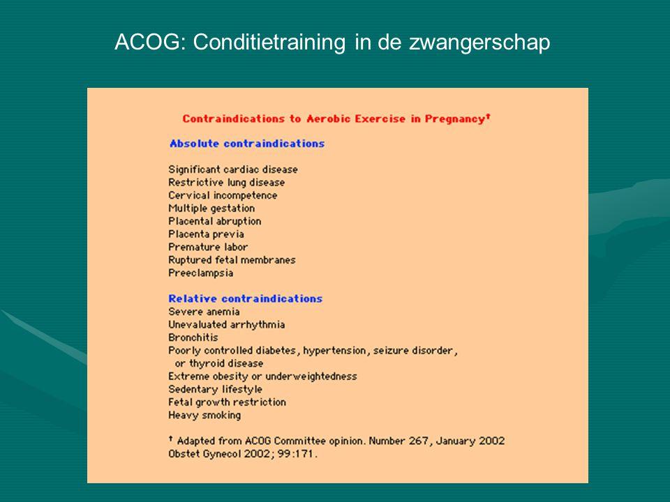 ACOG: Conditietraining in de zwangerschap