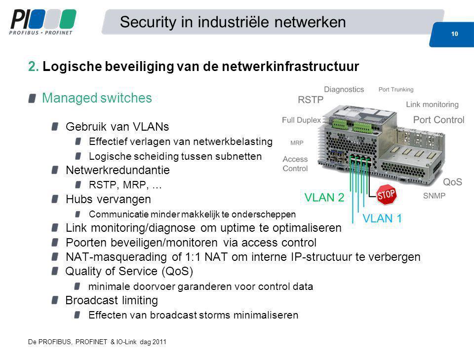 De PROFIBUS, PROFINET & IO-Link dag 2011 10 Security in industriële netwerken Managed switches Gebruik van VLANs Effectief verlagen van netwerkbelasti