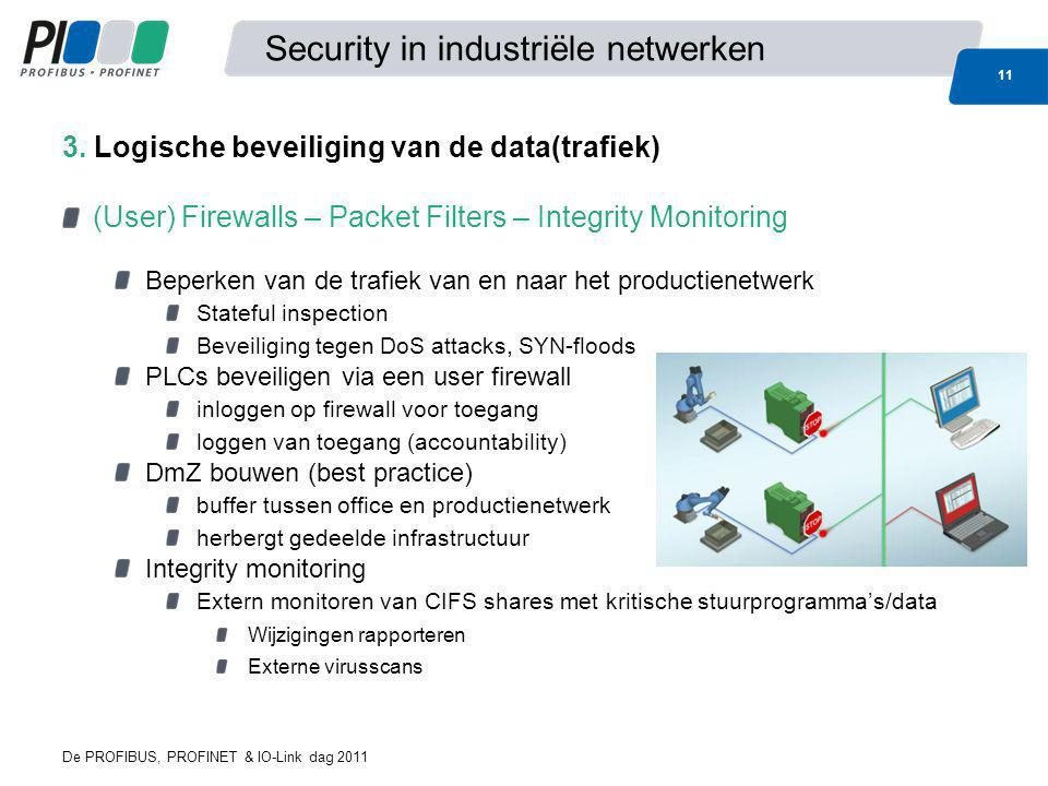 De PROFIBUS, PROFINET & IO-Link dag 2011 11 Security in industriële netwerken (User) Firewalls – Packet Filters – Integrity Monitoring Beperken van de