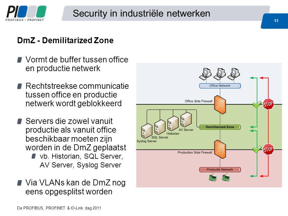De PROFIBUS, PROFINET & IO-Link dag 2011 13 Security in industriële netwerken Vormt de buffer tussen office en productie netwerk Rechtstreekse communi