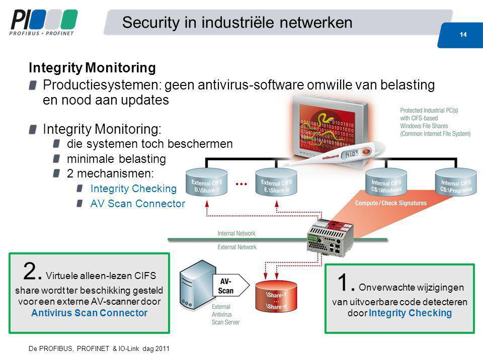 De PROFIBUS, PROFINET & IO-Link dag 2011 14 Security in industriële netwerken Productiesystemen: geen antivirus-software omwille van belasting en nood