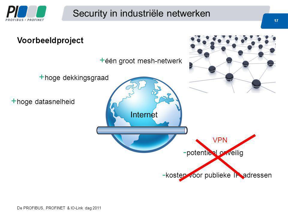 Security in industriële netwerken 17 De PROFIBUS, PROFINET & IO-Link dag 2011 + hoge dekkingsgraad - potentieel onveilig + één groot mesh-netwerk - ko
