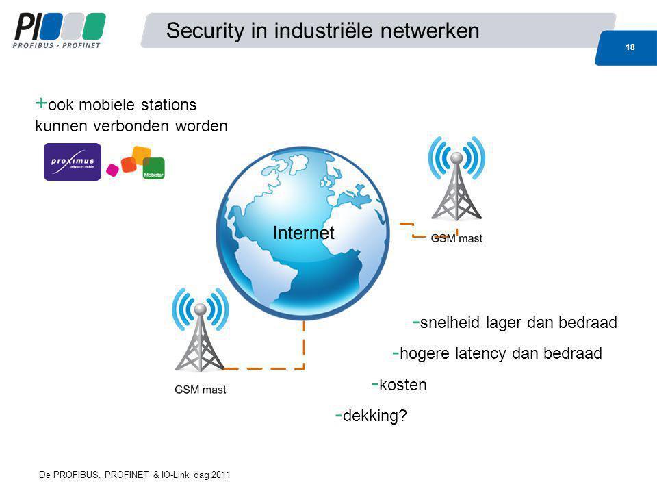 Security in industriële netwerken 18 De PROFIBUS, PROFINET & IO-Link dag 2011 + ook mobiele stations kunnen verbonden worden - snelheid lager dan bedr