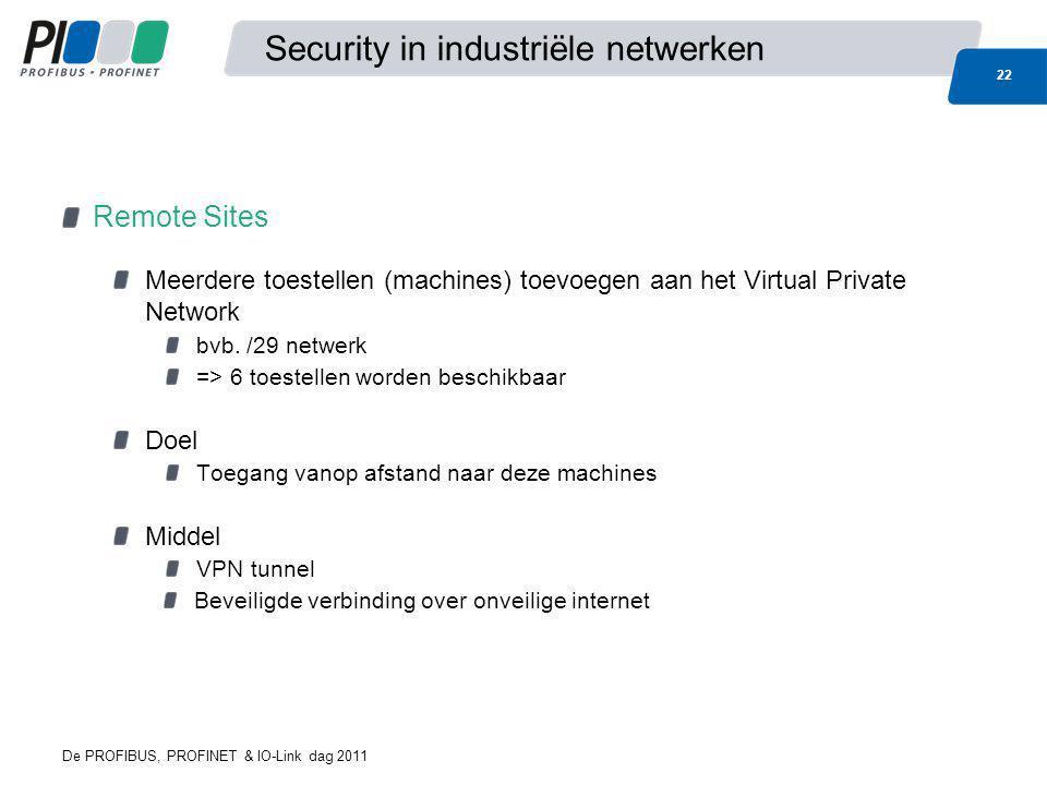 De PROFIBUS, PROFINET & IO-Link dag 2011 22 Security in industriële netwerken Remote Sites Meerdere toestellen (machines) toevoegen aan het Virtual Pr