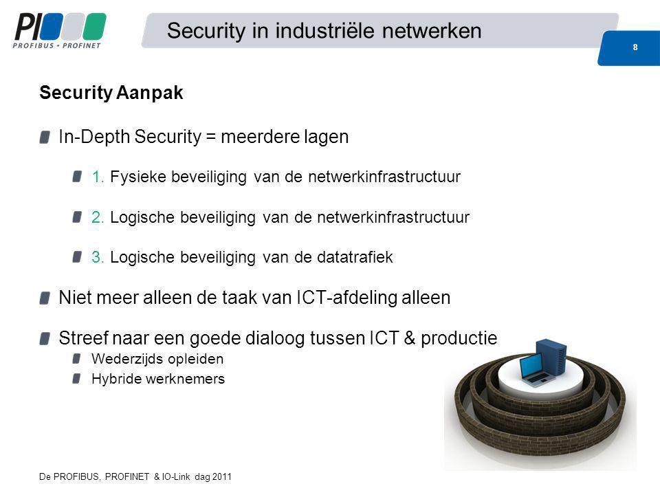 De PROFIBUS, PROFINET & IO-Link dag 2011 9 Security in industriële netwerken Fysieke beveiliging van de kast of de ruimte sleutel, badge, code Toegangscontrole voor personeel en externen Mechanische beveiliging van poorten en/of kabels 1.