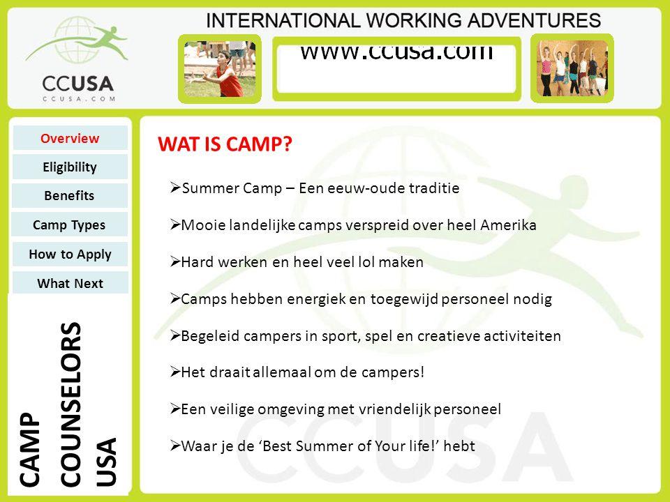 Voor 9 weken 'resident camp' of 11 weken 'day camp' verdien je een totaalbedrag van: Als CCUSA de vlucht regelt: US $ 800Counselor – 18 jaar US $ 975Counselor – 19-20 jaar US $ 1,210Counselor – 21 jaar en ouder US $ 1,290Support Staff Als je zelf de vlucht regelt: US $ 1,480 Counselor – 18 jaar US $ 1,705 Counselor – 19-20 jaar US $ 1,940 Counselor – 21 jaar en ouder US $ 1,880 Support Staff ZAKGELD Overview Eligibility Benefits Camp Types How to Apply What Next CAMP COUNSELORS USA