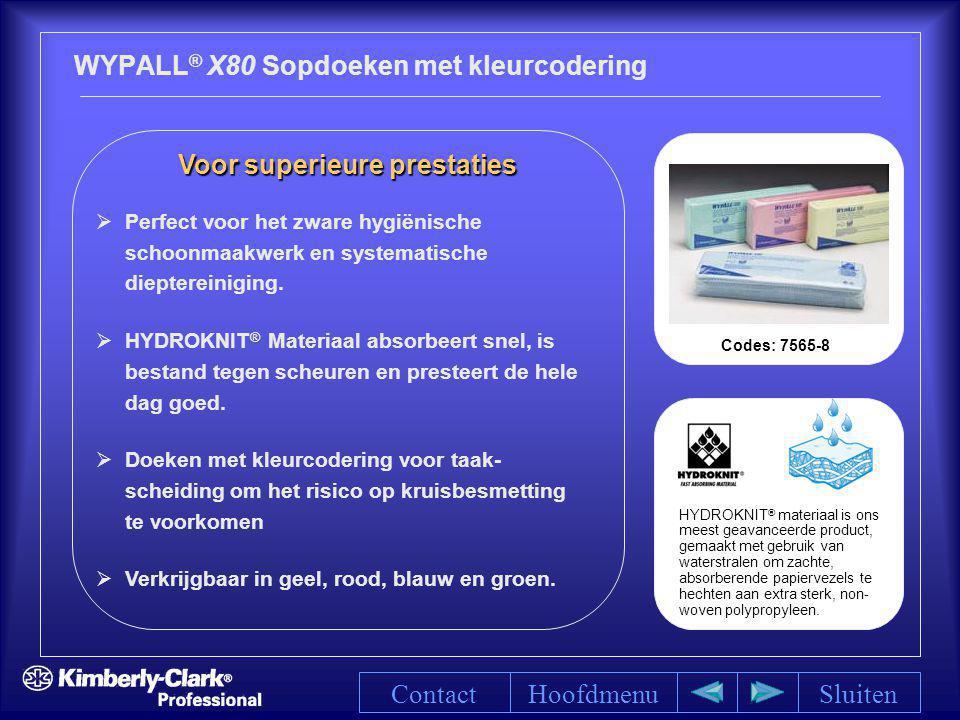 WYPALL ® X80 Sopdoeken met kleurcodering HoofdmenuSluiten Voor superieure prestaties Voor superieure prestaties   Perfect voor het zware hygiënische