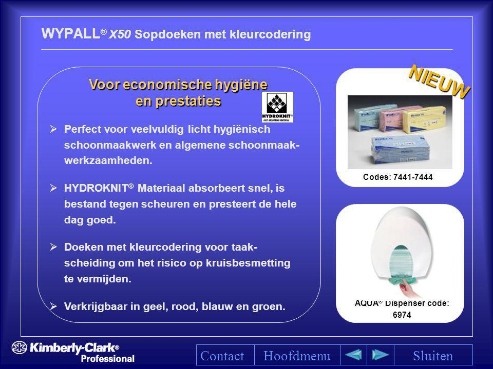 AQUA ® Dispenser code: 6974 WYPALL ® X50 Sopdoeken met kleurcodering HoofdmenuSluiten Voor economische hygiëne Voor economische hygiëne en prestaties