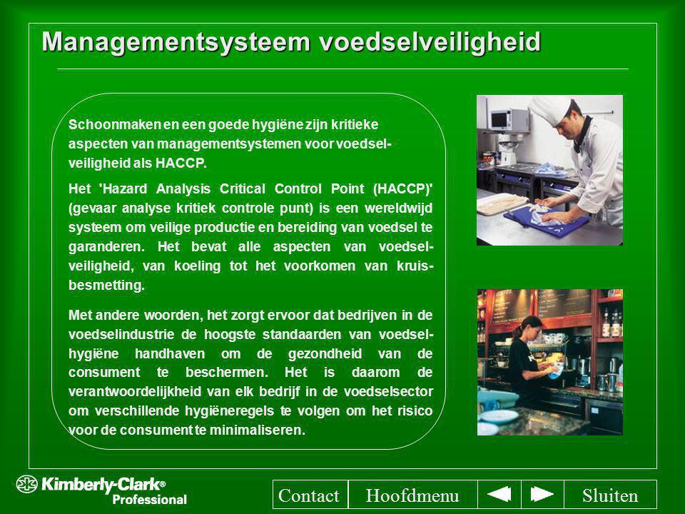 Managementsysteem voedselveiligheid Het 'Hazard Analysis Critical Control Point (HACCP)' (gevaar analyse kritiek controle punt) is een wereldwijd syst