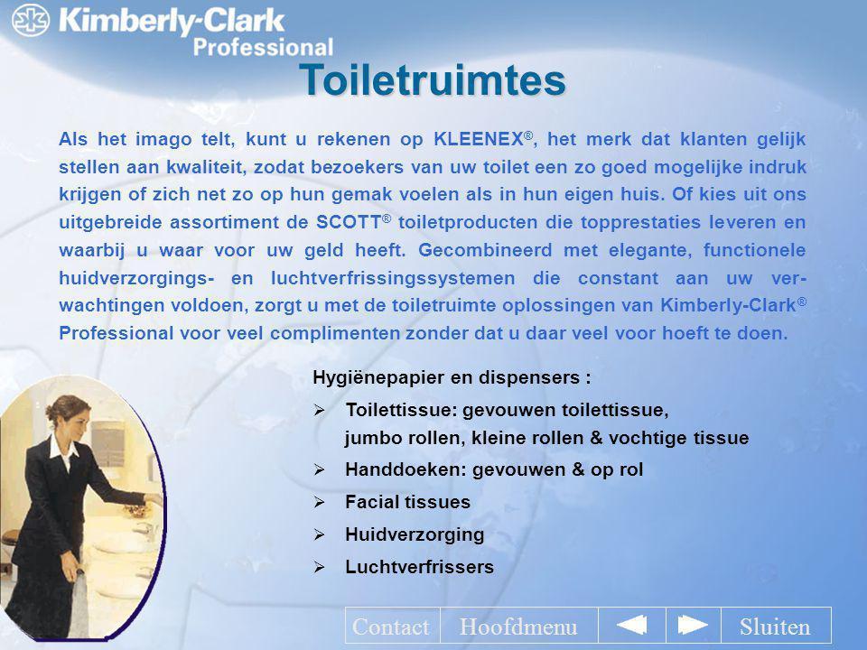 Toiletruimtes Als het imago telt, kunt u rekenen op KLEENEX ®, het merk dat klanten gelijk stellen aan kwaliteit, zodat bezoekers van uw toilet een zo