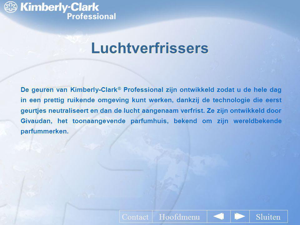 Luchtverfrissers De geuren van Kimberly-Clark ® Professional zijn ontwikkeld zodat u de hele dag in een prettig ruikende omgeving kunt werken, dankzij