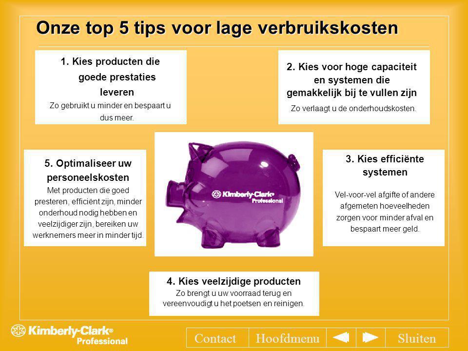 Onze top 5 tips voor lage verbruikskosten 1. Kies producten die goede prestaties leveren Zo gebruikt u minder en bespaart u dus meer. 2. Kies voor hog