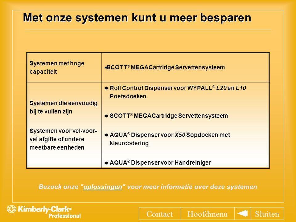 Systemen met hoge capaciteit  SCOTT ® MEGACartridge Servettensysteem Systemen die eenvoudig bij te vullen zijn Systemen voor vel-voor- vel afgifte of