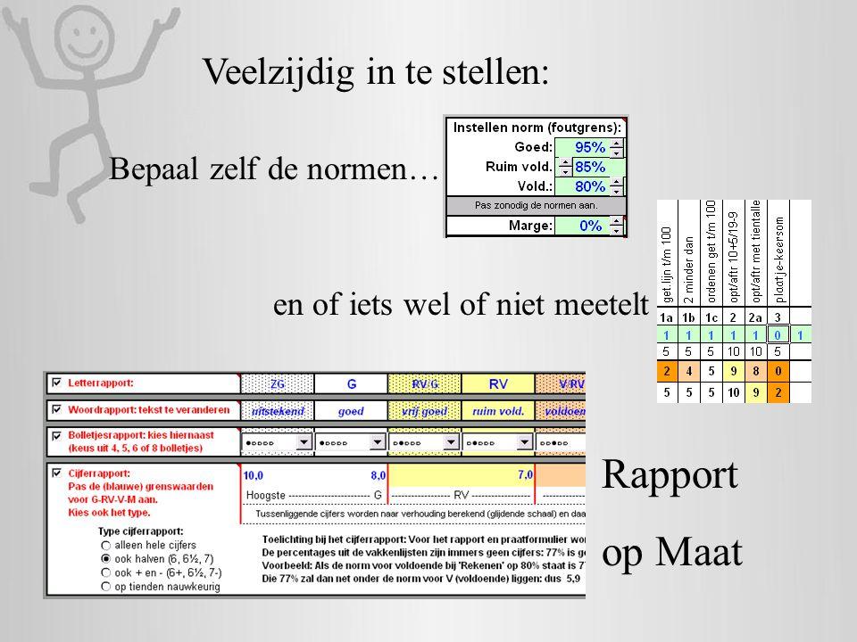 Bepaal zelf de normen… en of iets wel of niet meetelt Rapport op Maat Veelzijdig in te stellen: