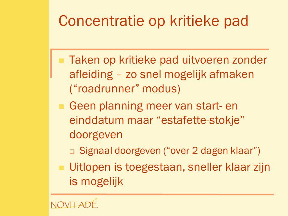 """Concentratie op kritieke pad  Taken op kritieke pad uitvoeren zonder afleiding – zo snel mogelijk afmaken (""""roadrunner"""" modus)  Geen planning meer v"""