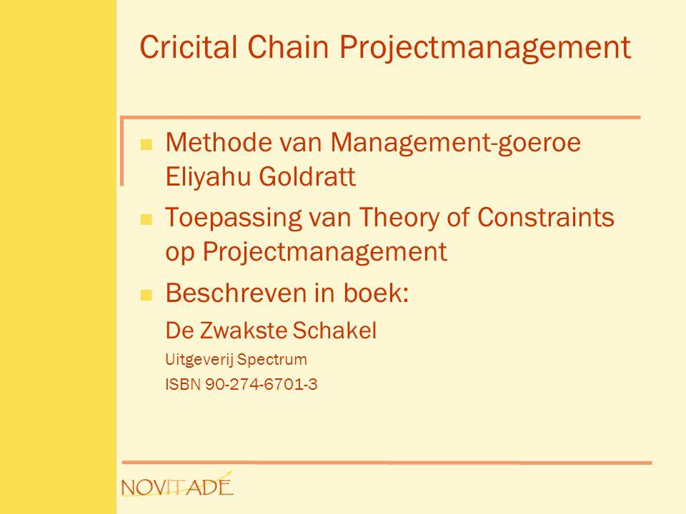 Cricital Chain Projectmanagement  Methode van Management-goeroe Eliyahu Goldratt  Toepassing van Theory of Constraints op Projectmanagement  Beschr