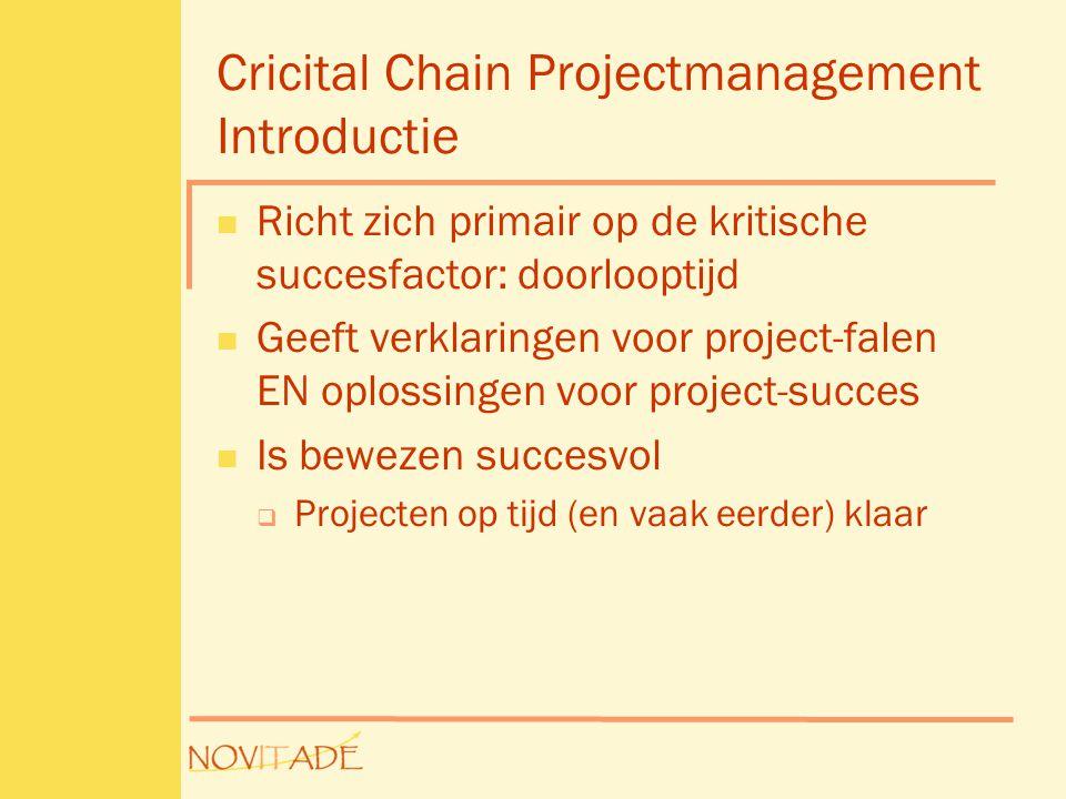 Cricital Chain Projectmanagement Introductie  Richt zich primair op de kritische succesfactor: doorlooptijd  Geeft verklaringen voor project-falen EN oplossingen voor project-succes  Is bewezen succesvol  Projecten op tijd (en vaak eerder) klaar