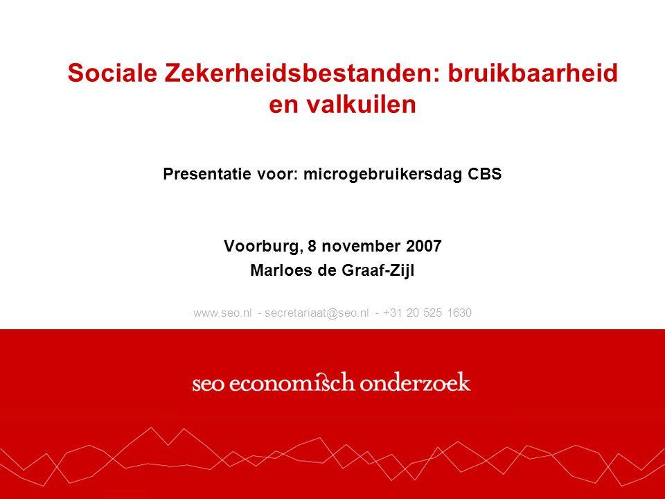 Bruikbaarbeid: Welke vragen heeft SEO beantwoord met de sociale zekerheidsbestanden van het CBS  In beeld brengen van stromen tussen WW, bijstand, nug, arbeidsongeschiktheid en werk De weg naar werk (2006), De weg terug (2005), Re-integratie van niet-uitkeringsgerechtigde werkzoekenden (2007)  Inzet en effectiviteit re-integratiedienstverlening voor verschillende groepen De weg terug (2005), De weg naar werk (2006), Kosten en baten van reïntegratie (2006), Werkt de reïntegratiemarkt.