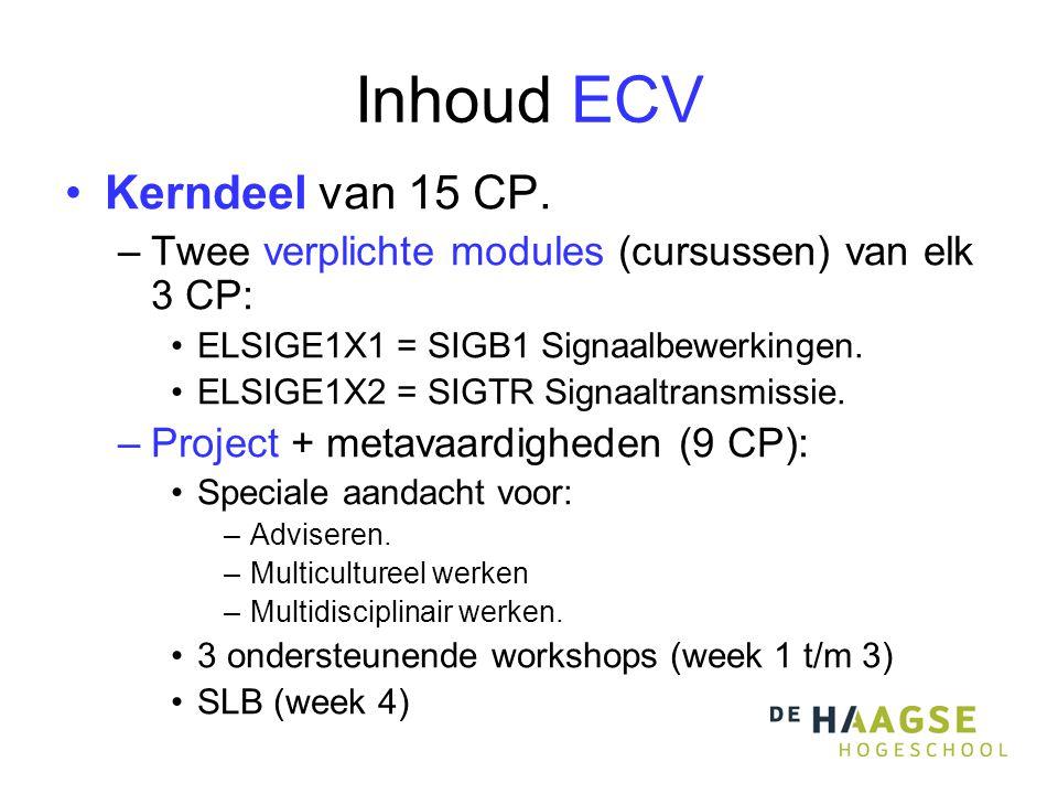 Inhoud ECV •Kerndeel van 15 CP.