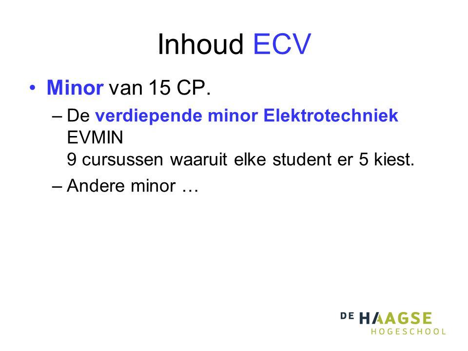 Inhoud ECV •Minor van 15 CP.