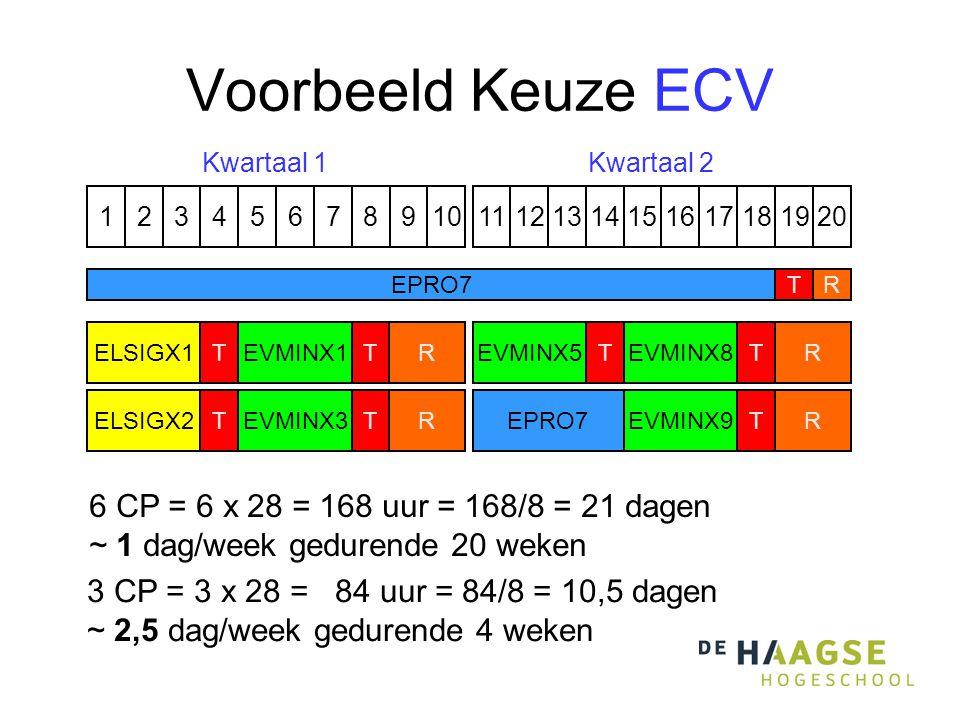 Voorbeeld Keuze ECV 1324576891110121315141617191820 EVMINX8 T EVMINX9 T EVMINX5 TELSIGX1 ELSIGX2 T T R R R R EPRO7T R Kwartaal 1Kwartaal 2 EVMINX1T EVMINX3 T EPRO7 6 CP = 6 x 28 = 168 uur = 168/8 = 21 dagen ~ 1 dag/week gedurende 20 weken 3 CP = 3 x 28 = 84 uur = 84/8 = 10,5 dagen ~ 2,5 dag/week gedurende 4 weken