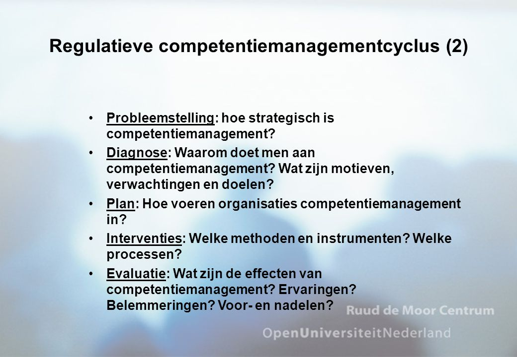 •Probleemstelling: hoe strategisch is competentiemanagement? •Diagnose: Waarom doet men aan competentiemanagement? Wat zijn motieven, verwachtingen en