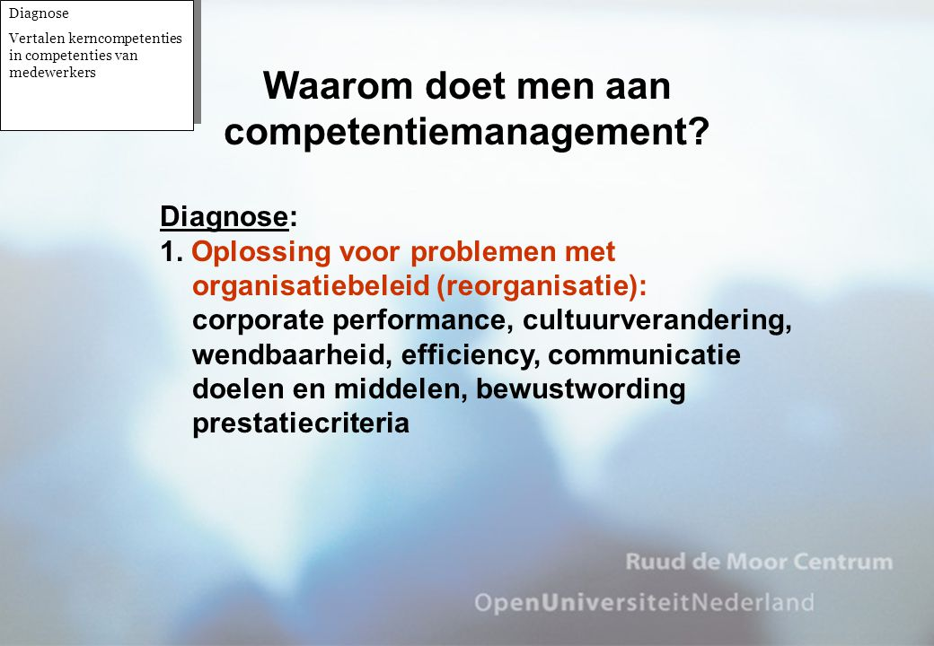 Diagnose: 1. Oplossing voor problemen met organisatiebeleid (reorganisatie): corporate performance, cultuurverandering, wendbaarheid, efficiency, comm