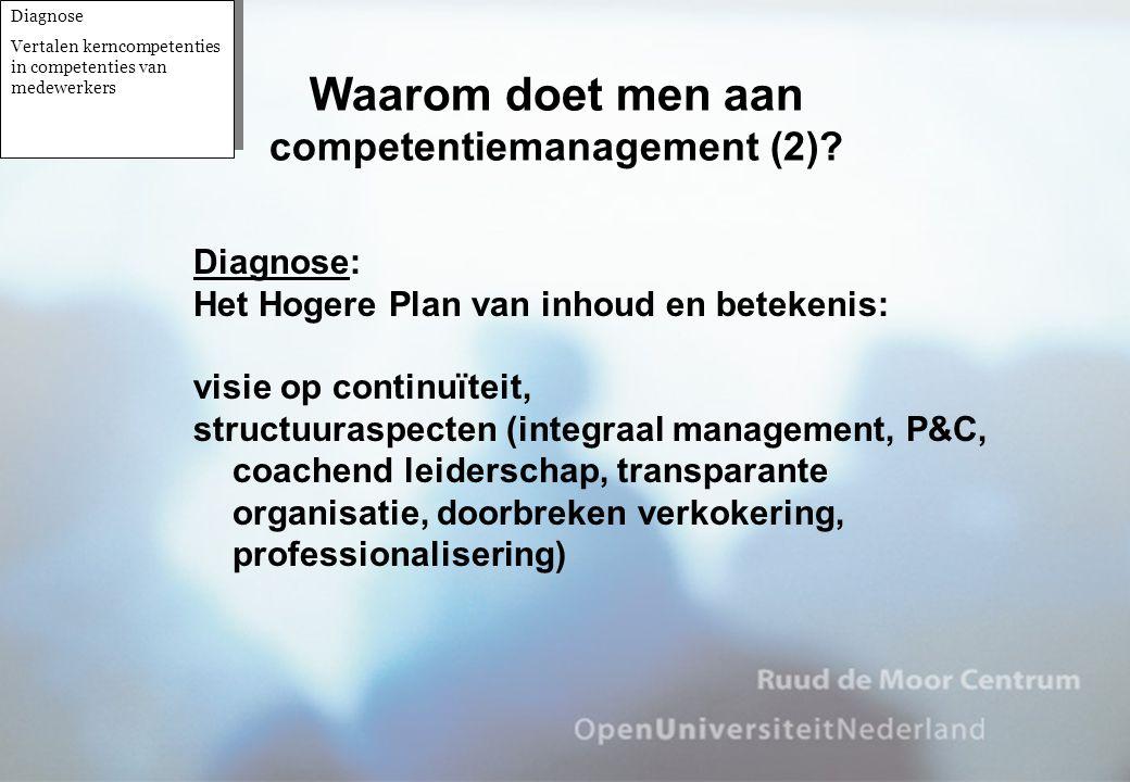 Diagnose: Het Hogere Plan van inhoud en betekenis: visie op continuïteit, structuuraspecten (integraal management, P&C, coachend leiderschap, transpar