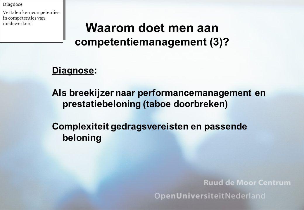 Diagnose: Als breekijzer naar performancemanagement en prestatiebeloning (taboe doorbreken) Complexiteit gedragsvereisten en passende beloning Waarom