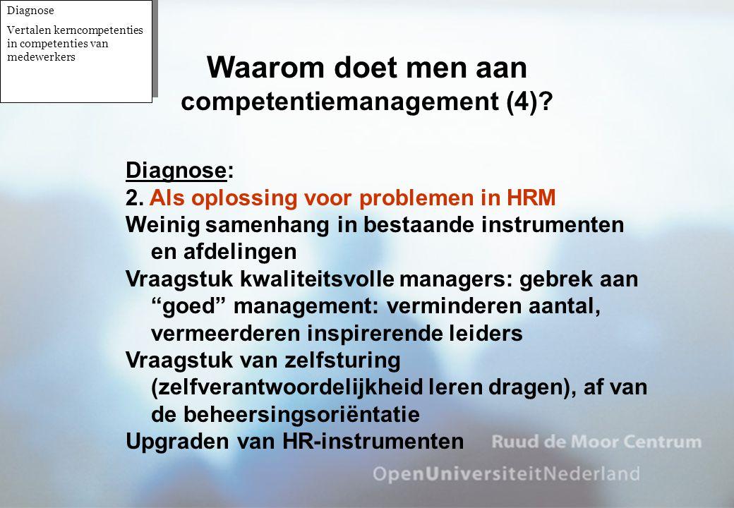 Diagnose: 2. Als oplossing voor problemen in HRM Weinig samenhang in bestaande instrumenten en afdelingen Vraagstuk kwaliteitsvolle managers: gebrek a