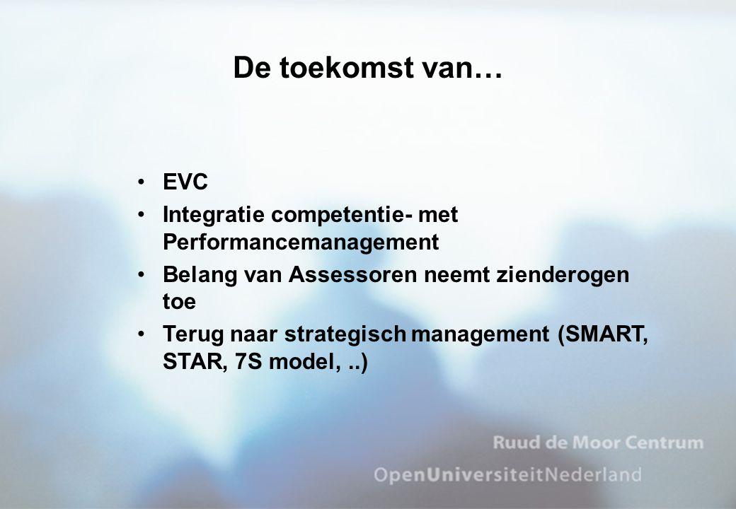 •EVC •Integratie competentie- met Performancemanagement •Belang van Assessoren neemt zienderogen toe •Terug naar strategisch management (SMART, STAR,