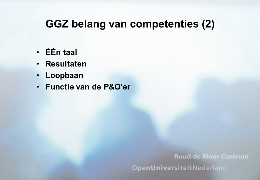 •ÉÉn taal •Resultaten •Loopbaan •Functie van de P&O'er GGZ belang van competenties (2)