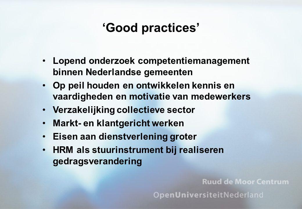 •Lopend onderzoek competentiemanagement binnen Nederlandse gemeenten •Op peil houden en ontwikkelen kennis en vaardigheden en motivatie van medewerker