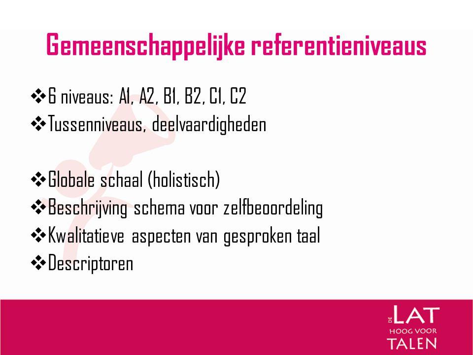 Gemeenschappelijke referentieniveaus  6 niveaus: A1, A2, B1, B2, C1, C2  Tussenniveaus, deelvaardigheden  Globale schaal (holistisch)  Beschrijvin