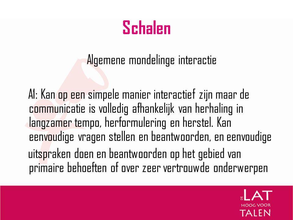 Schalen Algemene mondelinge interactie A1: Kan op een simpele manier interactief zijn maar de communicatie is volledig afhankelijk van herhaling in la