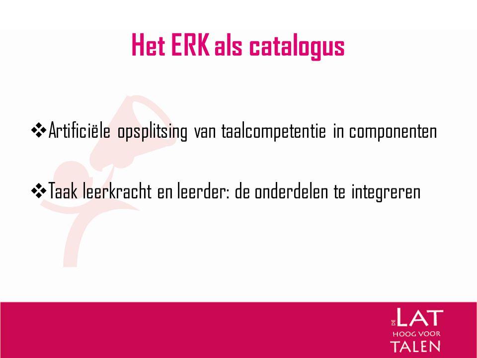 Het ERK zet aan tot vernieuwing  Europees Portfolio en andere gevalideerde portfolio's  Handleiding over hoe taalexamens te relateren aan het ERK  Voorbeelden: audio- en videofragmenten, teksten, testitems  ERK en talen in de scholen  Handleiding voor het opstellen van beschrijvingen van referentieniveaus - 'Profile Deutsch' (instrumenten Raad van Europa)