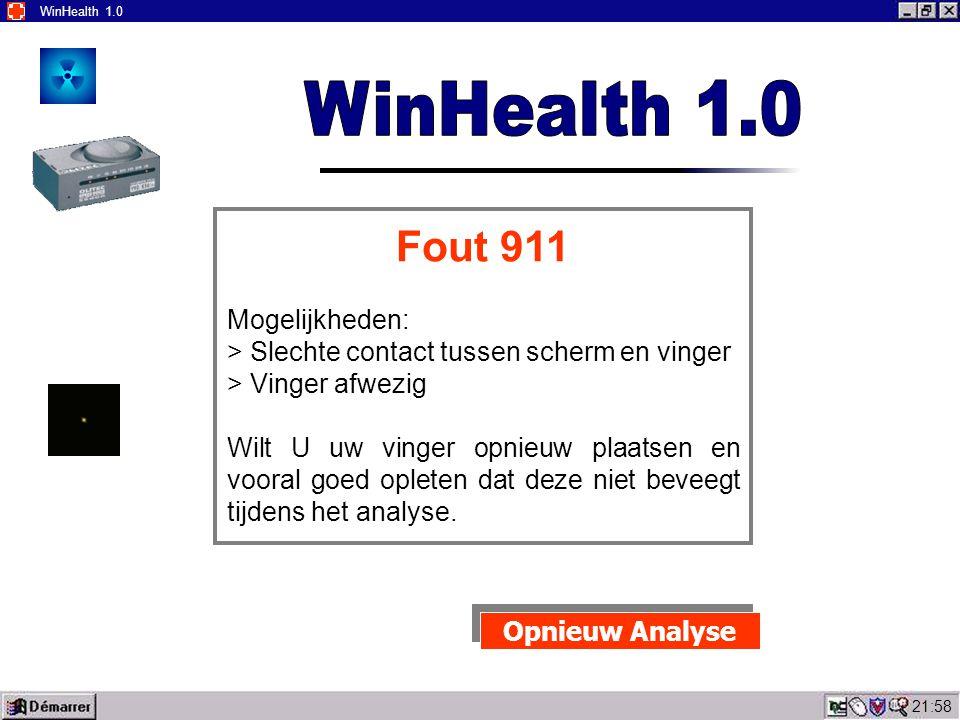 22:00 WinHealth 1.0 Wilt U uw linker wijs vinger plaatsen aan de linker kant van het scherm.