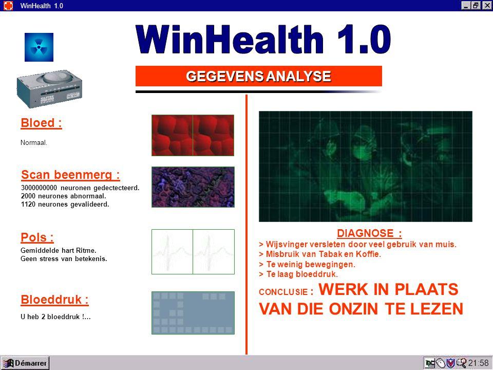 22:00 WinHealth 1.0 GEGEVENS ANALYSE Bloed : Normaal.